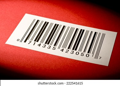 Horizontal Shot Of Bar Code On Red Textured Background/ Abstract Bar Code