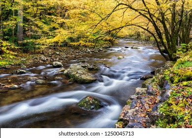 Horizontal shot of a beautiful flowing Smoky Mountain stream in Autumn colors.