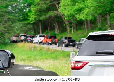 Horizontal shot of a Cades Cove traffic jam.
