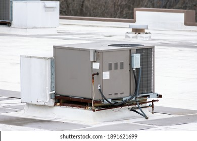 Horizontal shot of a commercial rooftop air conditioning unit.