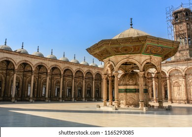 Horizontal shot of the courtyard of the Mosque of Muhammad Ali in the Citadel of Saladin in Cairo, Egypt.