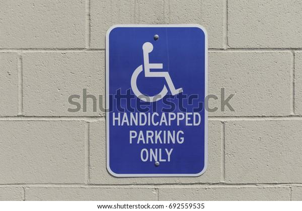 horizontal shot of a handicap parking spot