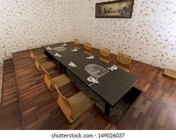 Horizontal shot of the interior of a Korean Restaurant.