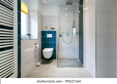 Horizontal shot of a luxury bathroom with large, walk-in shower. Blue and white tiles
