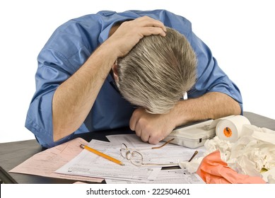 Horizontal Shot Of Man With Tax Troubles