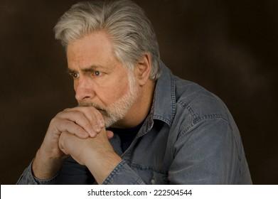 Horizontal Shot Of Man Worried/ Worried Man