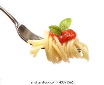 Horizontal shot of pasta with sauce