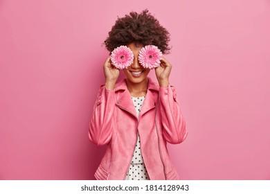 Horizontal Aufnahme von hübscher Frau hat Afro Haar hält zwei Gerbera Gänseblümchen vor den Augen und lächelt im Allgemeinen, hat Spaß. Die modische Dame genießt Frühlingszeit, angenehmen Duft. Florist mit Blumen