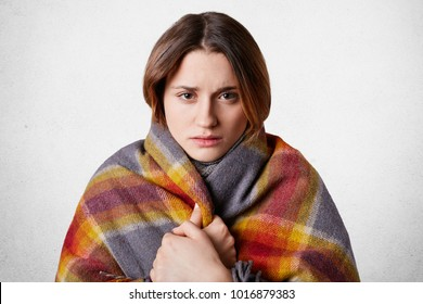 Horizontal shot of pretty young woman feels cold, wrapped in wool coverlet, tries to warm herself, isolated over white background. Adorable female trembles after walk in frosty weather outdoor