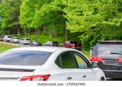 Horizontal shot of a Smoky Mountains summer traffic jam.