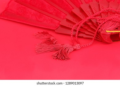 Horizontal tassels and fan for use for your Chinese New Year background