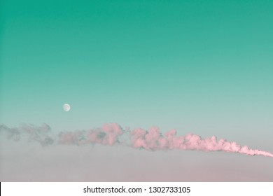Horizontal thick smoke from smokestack in sky. Dense smog in atmosphere on moon background with copy space. Environmental pollution.  Harmful fumes from stack above city. Noxious fume close-up.