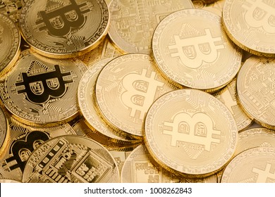 horizontal top view pile of many golden bitcoins background texture