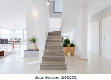 Horizontal view of bright spacious detached house
