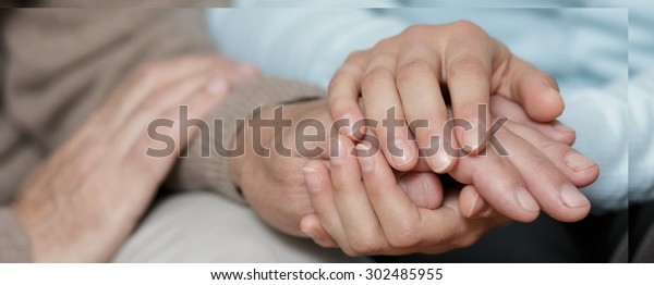 Horizontal view of caring about old person