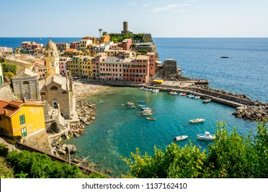 Horizontal View of the Coloured Town of Vernazza and its ittle Bay. Italy, National Park of the Cinque Terre