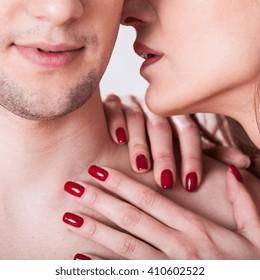Horizontal view of couple having erotic moment