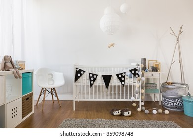 Horizontal view of cozy baby room decor