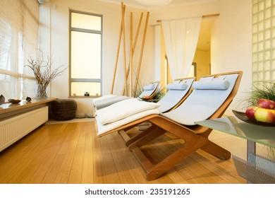 Horizontal view of elegant spa in hotel
