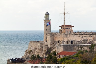 Horizontal view of the famous castle of El Morro at the entrance of the bay of Havana