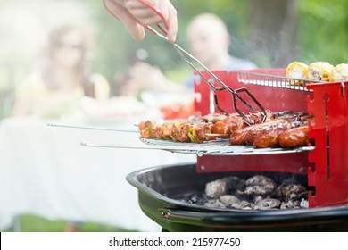 Horizontal view of grilling in a garden