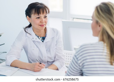 Horizontal view of happy patient at doctor's office