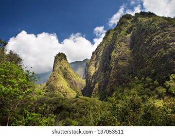 Horizontal view of the Iao Needle located on the Hawaiian Island of Maui