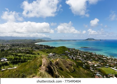 Horizontal view of Kailua and Marine Corps Base Hawaii in the distance, from Kalwa Ridge, Pillbox Hike.