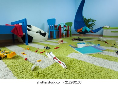 Horizontal view of mess in boy's room