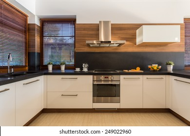 Horizontal view of modern furniture in luxury kitchen