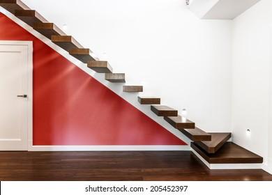 Horizontal view of modern and illuminated stairs