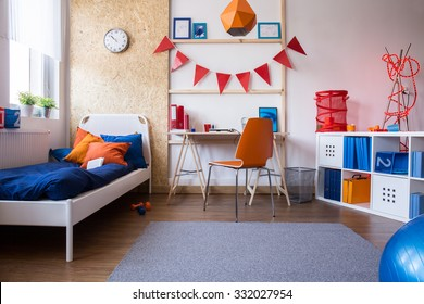 Horizontal view of modern teen boy bedroom