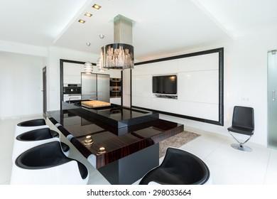 Horizontal view of new modern kitchen interior