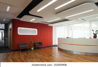 Horizontal view of reception in modern hotel