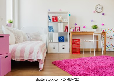 Horizontal view of room design for schoolgirl