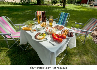 Horizontal view of summer grill time in garden
