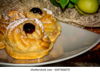 Horizontal View of Traditional Baked Italian Food Called Zeppole  during Saint Joseph Celebration
