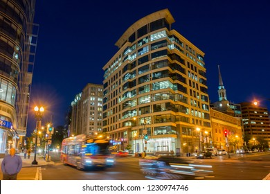 Horizontal View of Washington DC at the Blue Hour after the Sunset in October on Blue Sky Background