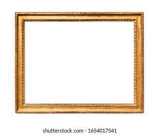 horizontal vintage wooden painting frame with cutout canvas isolated on white background
