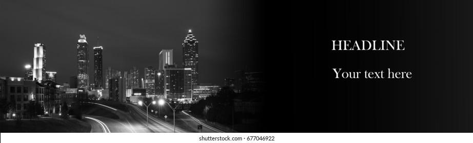 Horizontal web banner with modern city panorama. Atlanta, Georgia, USA
