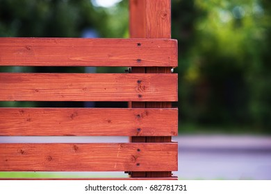 Horizontal wooden fence city background