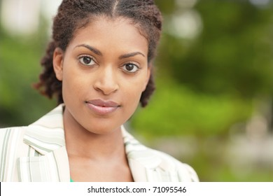 Horizontally composed image of a young black female