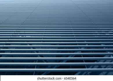 Horizontally placed stainless steel tubes hi-tech facade