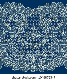 Horizontally seamless blue lace background with floral pattern