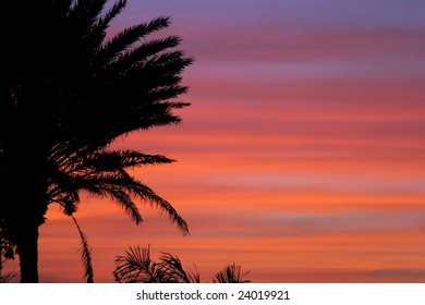A horizontally striped tropical sunset