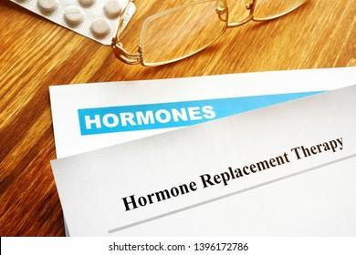 Hormone replacement therapy HRT. Prescription on the desk.