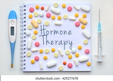 Hormone therapy. Diagnosis on white background