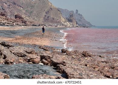 Hormuz Island, Hormozgan Province, Iran - 17  april, 2017: Iranian Island of Hormuz in Persian Gulf, A lonely traveler walks along the red beach along the surf line.