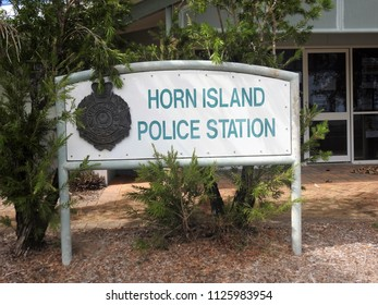 Horn Island, Torres Strait, Queensland, Australia, June 21, 2018. Horn Island Police Station Sign and Emblem in front of the Police Station, Horn Island, Torres Strait, Northern Australia
