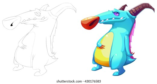 Horn Mouse Boss Dino Creature. Coloring Book, Outline Sketch, Monster Mascot Character Design isolated on White Background